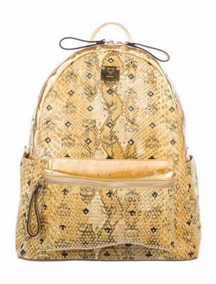 MCM Stark Embossed Visetos Studded Backpack Gold