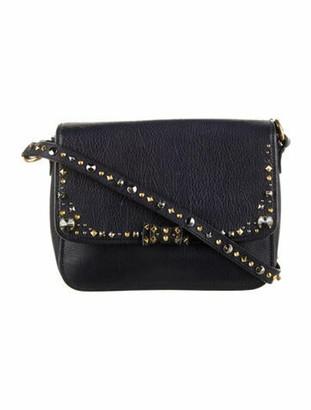 Miu Miu Crystal Embellished Leather Crossbody Bag Blue