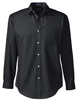 Lands' End Men's Regular Long Sleeve Tailored Straight Collar Broadcloth Shirt-Pewter Heather