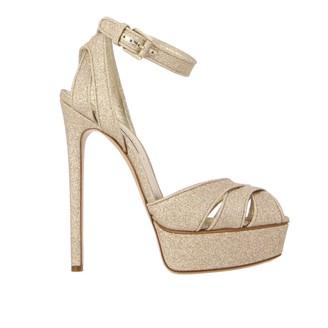 Casadei Heeled Sandals Flora Glitter Sandal With Platform