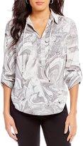 Jones New York Marble Print Crepe de Chine Roll-Sleeve Shirt