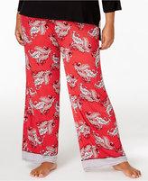 Ellen Tracy Plus Size Contrast-Trimmed Pajama Pants
