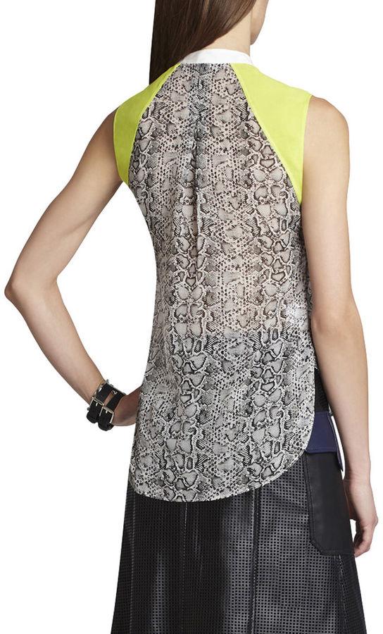 BCBGMAXAZRIA Ellen Blocked Sleeveless Silk Top