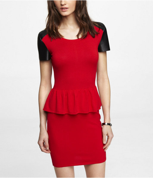 Express (Minus The) Leather Sleeve Peplum Dress