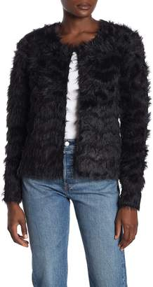Woven Heart Eyelash Faux Fur Open Front Cardigan