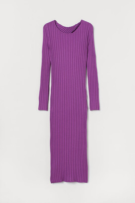 H&M Rib-knit Dress - Purple