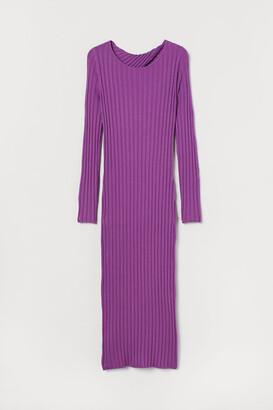 H&M Rib-knit Dress - Purple
