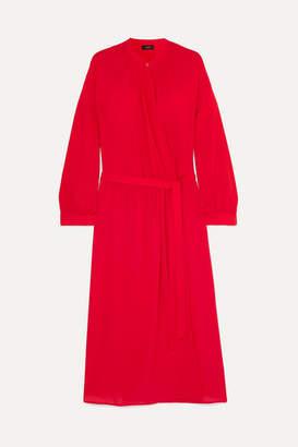 Joseph Nolan Wrap-effect Silk-georgette Midi Dress - Red