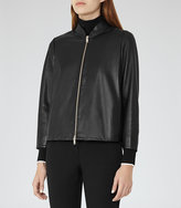 Reiss Beau Cropped Leather Jacket