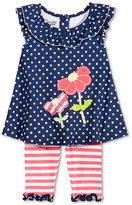 Nannette 2-Pc. Dot-Print Flowers Tunic & Capri Leggings Set, Baby Girls (0-24 months)
