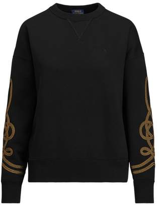 Ralph Lauren Bullion-Trim Fleece Pullover