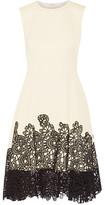 Lela Rose Lace-Paneled Cotton-Blend Dress
