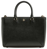 Tory Burch 'Small Robinson Zip' Leather Tote - Black
