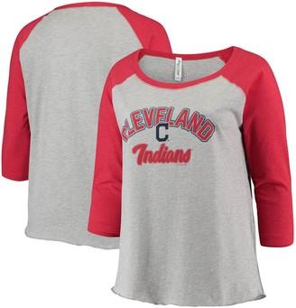 Women's Soft as a Grape Heathered Gray/Red Cleveland Indians Plus Size Baseball Raglan 3/4-Sleeve T-Shirt