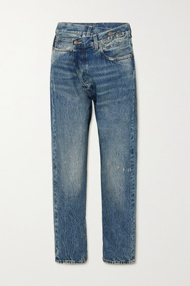 R 13 Crossover Asymmetric Distressed Boyfriend Jeans - Mid denim