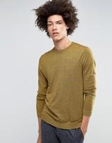 Asos Crew Neck Jumper In Brown Twist Cotton