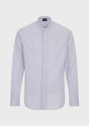 Emporio Armani Seersucker-Effect, Cotton Shirt With Guru Collar