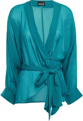 Just Cavalli Wrap-effect Georgette Blouse