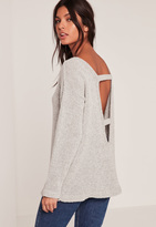Missguided Grey Cozy Tab Back Sweater