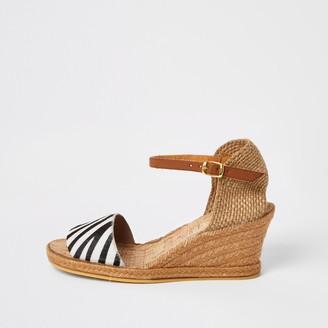 Ravel River Island Womens Black zebra print open toe wedge sandal