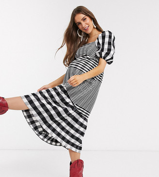 Topshop Maternity striped midi dress in monochrome