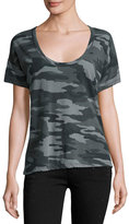 Current/Elliott The Slouchy Scoop-Neck Tee, Black Camouflage