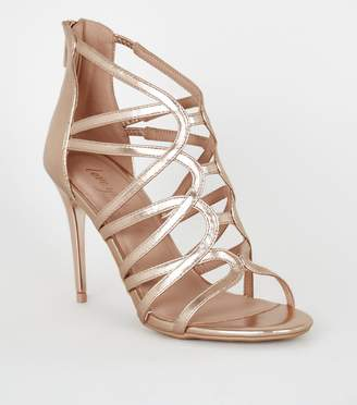 New Look Leather-Look Strappy Stiletto Heels