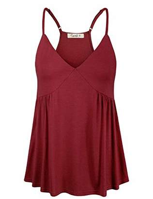 Women's Sleeveless V-Neck Flowy Loose Fit Racerback Babydoll Tank Top Spaghetti Strap Cami Tops
