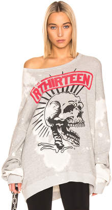 R 13 Exploited Punk Oversized Crewneck Sweater in Heather Grey & Bleach   FWRD