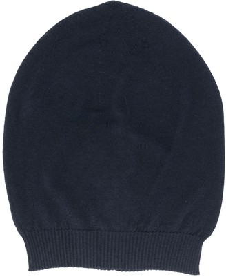 Rick Owens Knitted Ribbed Trim Beanie