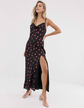 Cleobella kent floral slip midi dress-Black