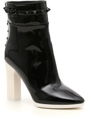 Valentino Garavani Rockstud-Detailed Patent Leather Ankle Boots