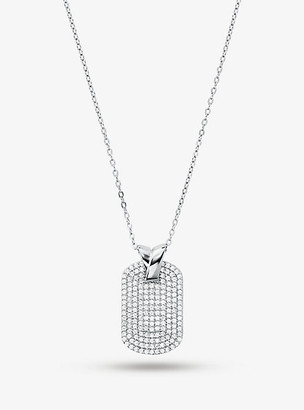 Michael Kors Precious Metal-Plated Sterling Silver Pave Dog Tag Necklace - Silver