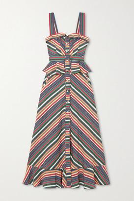 ANNA MASON Olivia Ruffled Striped Cotton Maxi Dress - Blue