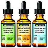 3 Bottle Value Pack - Anti-Aging Serum Set - 20% VITAMIN C (1oz)   2.5% RETINOL (1oz)   HYALURONIC ACID (1oz) Best Deal On Amazon + FREE E-Book