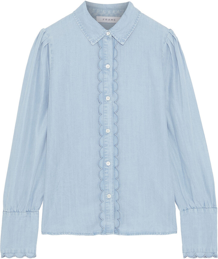 Scalloped Tencel chambray Shirt