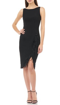 Carmen Marc Valvo Bead & Feather Trim Sleeveless Crepe Cocktail Dress