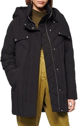 Andrew Marc Hooded Down Cocoon Coat