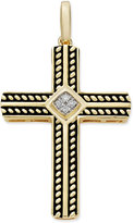 Macy's Men's Diamond Accent Cross Pendant in 10k Gold and Black Enamel