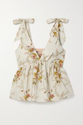 Brock Collection Floral-print Cotton-blend Poplin Peplum Top - Beige