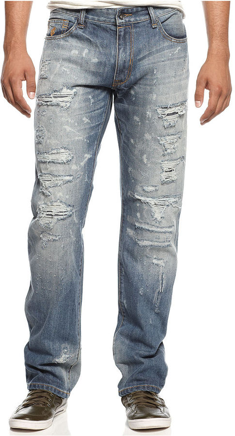 Rocawear Jeans, Havoc Rip and Repair Straight Leg Jeans