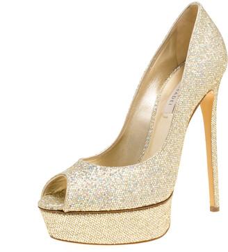 Casadei Gold Glitter Lame Fabric Daisy Peep Toe Platform Pumps Size 40