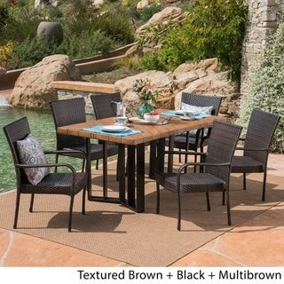 Christopher Knight Home Fossili Outdoor 7 Piece Wicker Dining Set with Textured Dining Table