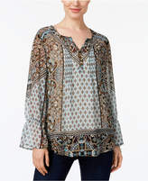 Style&Co. Style & Co Multi-Print Peasant Top, Created for Macy's