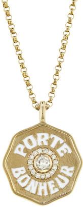 Marlo Laz Mini Diamond and White Enamel Porte Bonheur Coin Necklace - Yellow Gold