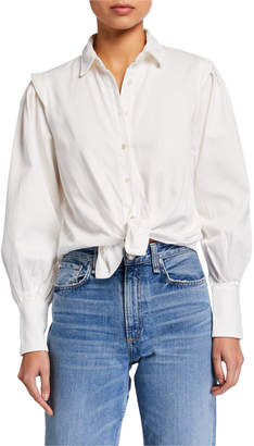 Frame Cinched Denim Button-Front Shirt