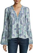Nanette Lepore Dewdrop Long-Sleeve Silk Kaleidoscope Top, Purple/Blue/Multicolor