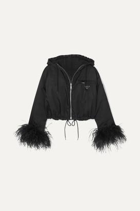 Prada Reversible Cropped Feather-trimmed Denim And Nylon Jacket - Black