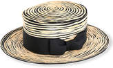 Stephen Jones Stitched raffia boater hat