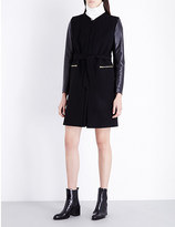 Sandro Gloria wool-blend and leather coat